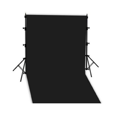 Mobiles Hintergrundset mit Teleskopständer + Stoff schwarz 3x6m