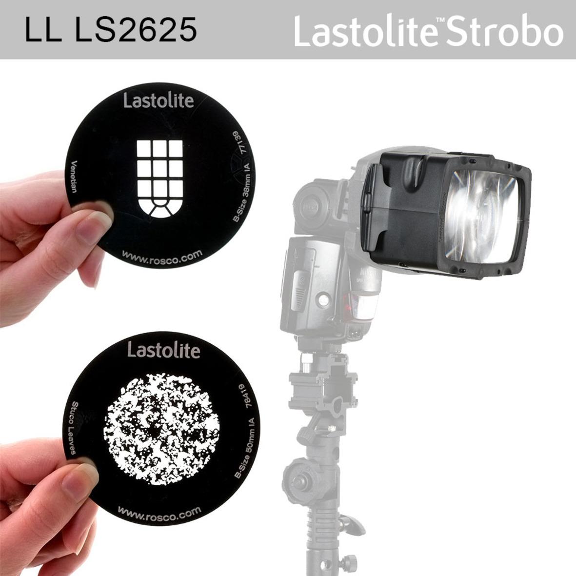 Lastolite Strobo Gobo, inkl. 2 Gobomasken 86mm (Fenster + Baum) optischer Spotvorsatz für Systemblit