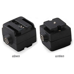Blitzadapter für Sony und Minolta Blitzgeräte (z.B. F56AM, F58AM, F42AM) an Standard-Blitzschuh