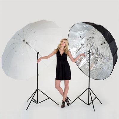 Lastolite Mega Studioschirm Set: 1 Gestänge + Bespannung transparent 181cm + Bespannung silber 157cm