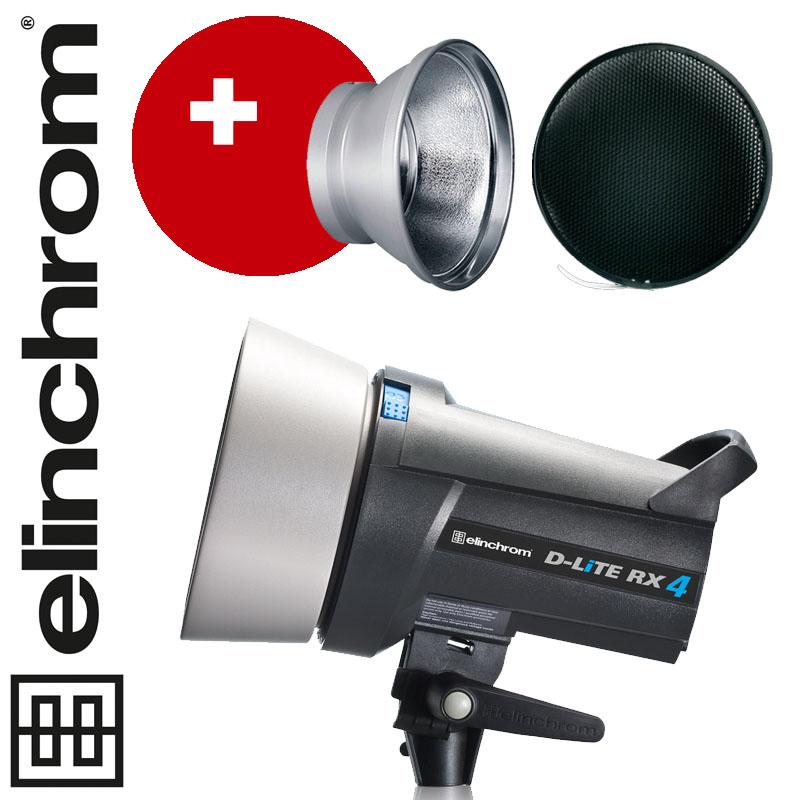 Elinchrom D-LITE RX 4 (400Ws) - mit integriertem Skyport Empfänger! + 18cm Reflektor + 30° Wabe