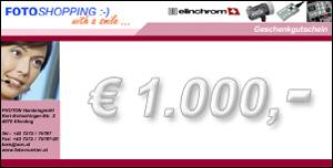 Geschenkgutschein im Wert von EUR 1000