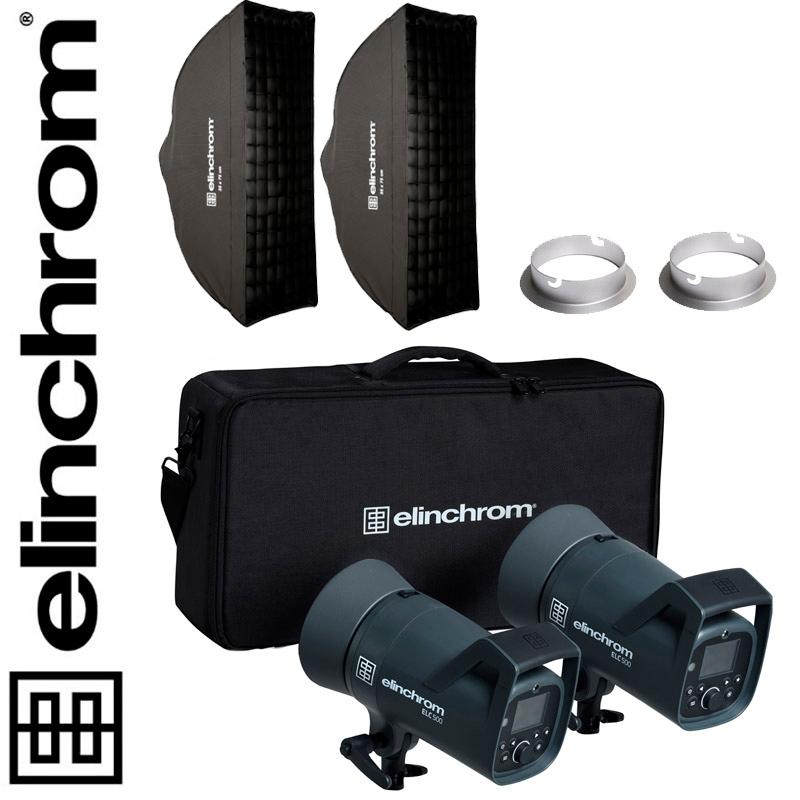 Elinchrom ELC 500/500 TTL Dual Strip Softbox Set