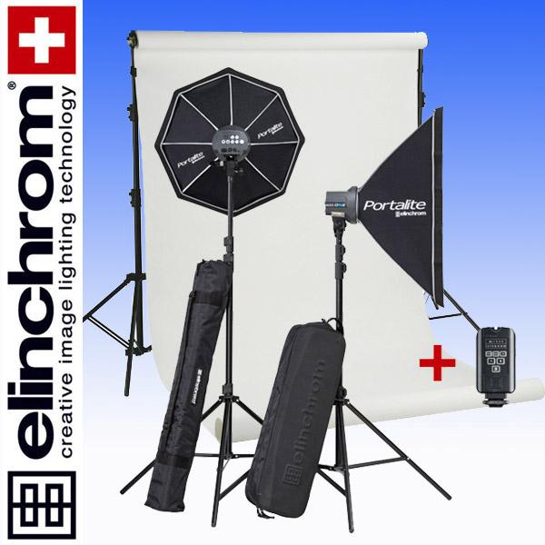 Elinchrom D-LITE RX ONE/ONE Fotostudio Start-Set (100/100Ws) mit Hintergrundsystem