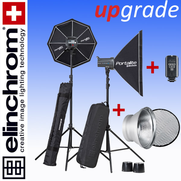 Elinchrom D-LITE RX 4/4 TO GO SET (400/400Ws) + 18cm Reflektor + 30° Wabe
