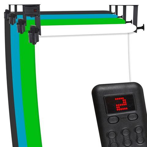 Hintergrundsystem elektrisch mit Fernbedienung für 4 Hintergrundkartons