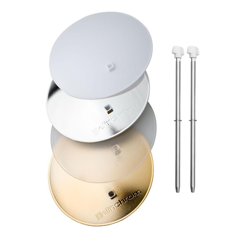 Elinchrom Deflektor-Set NEU (silber / gold / frost / translucent / 2 Stangen)