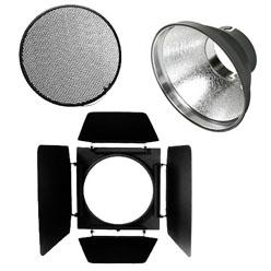 Elinchrom Quadra ø 18cm Reflektor + Wabengitter 30° + 4fach Abschirmklappen
