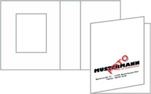Paßbildmappe, Ausschnitt 31x42mm, weiß matt, Ausführung mit Tasche